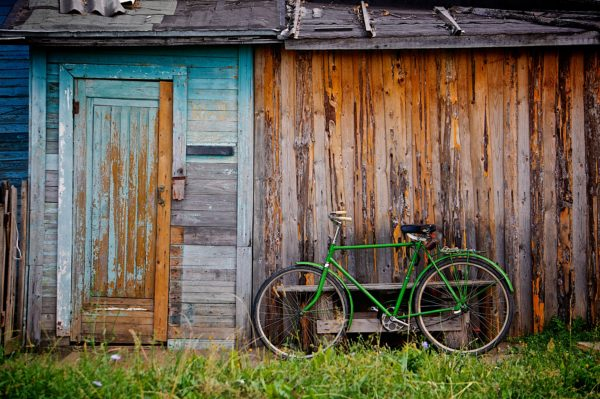 bicycle, old, wood, green, old house