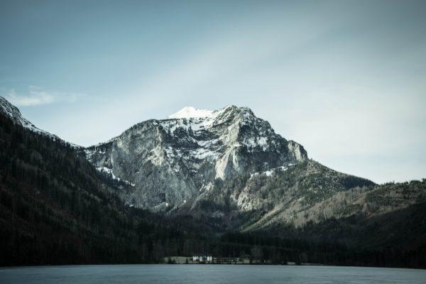mountain cottage, house, snow-capped mountains, lakes, pine trees, mountains