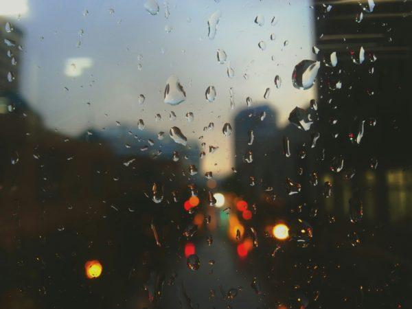 Raindrops, water, rain, glass, lights, cars, city