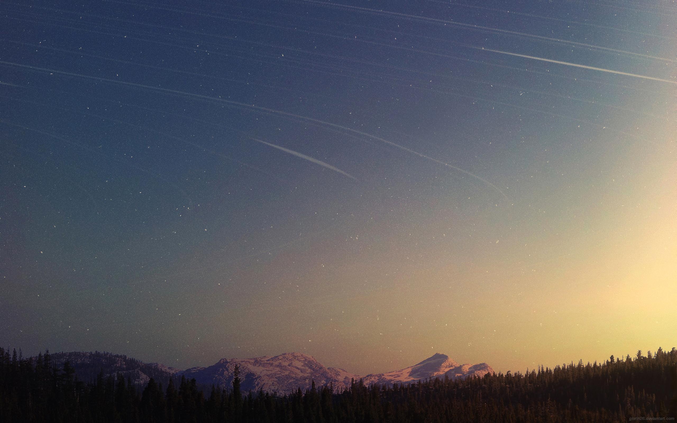 Wild Night, forest, mountains, pine trees, sunset, dusk, horizon, sky, stars