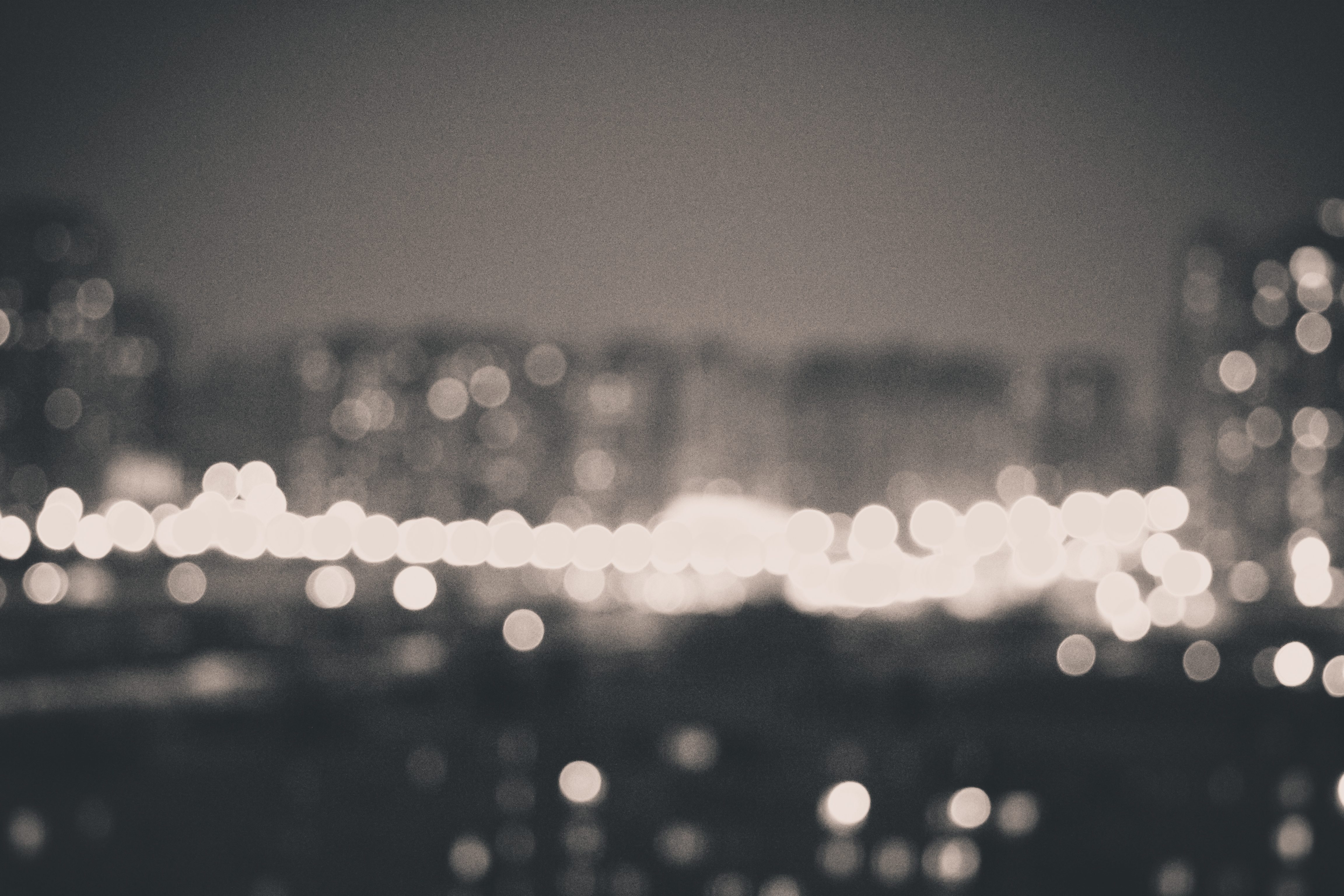 XIII, lights, street, black and white, out of focus lights