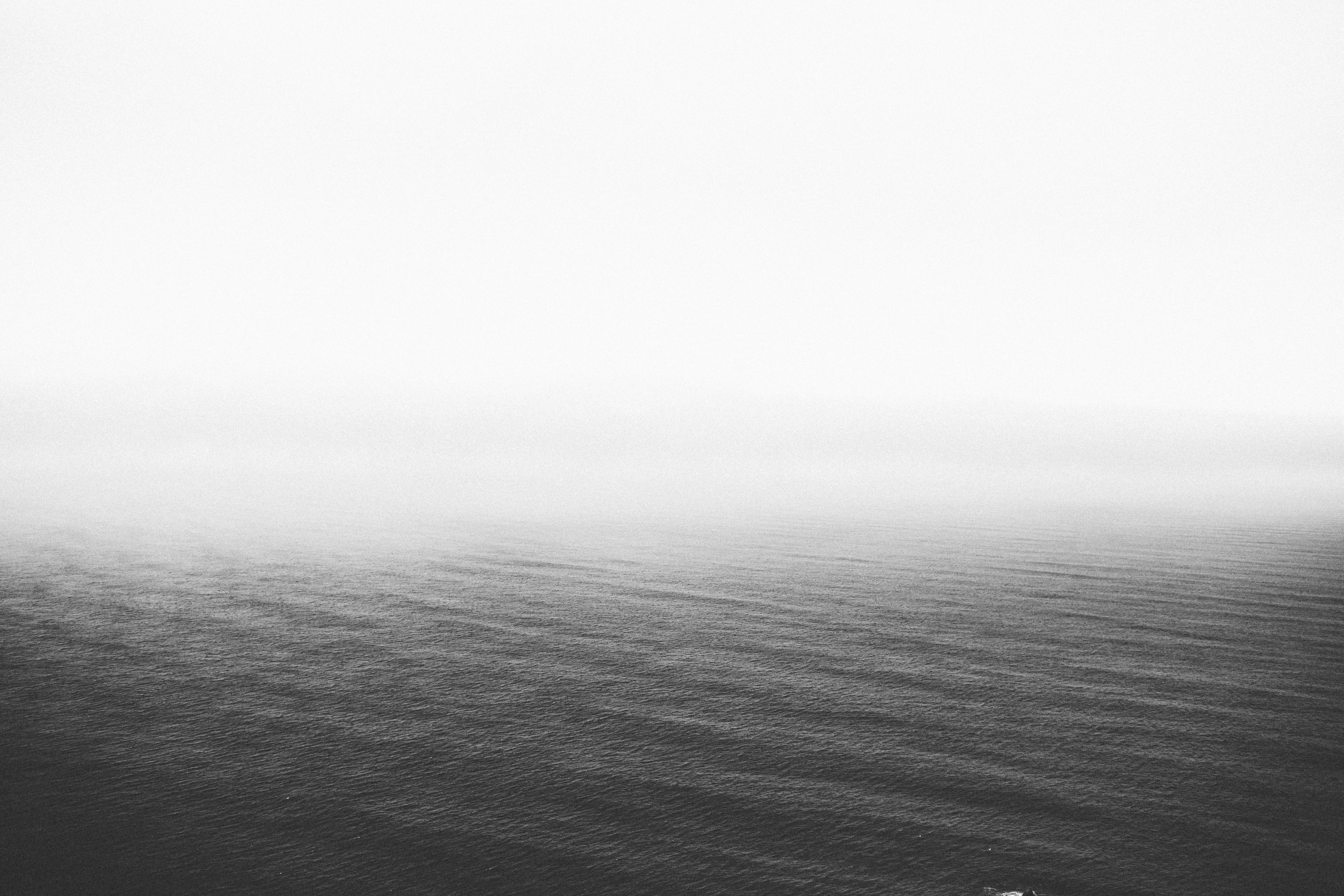 Infinity, sea, water, mist, black and white, calm, white