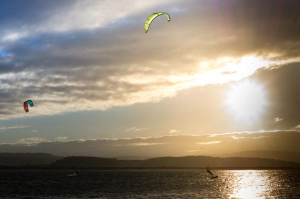 Kite Surfing, sailing, table, surfing, kite flying, sunset, lake, sports, water