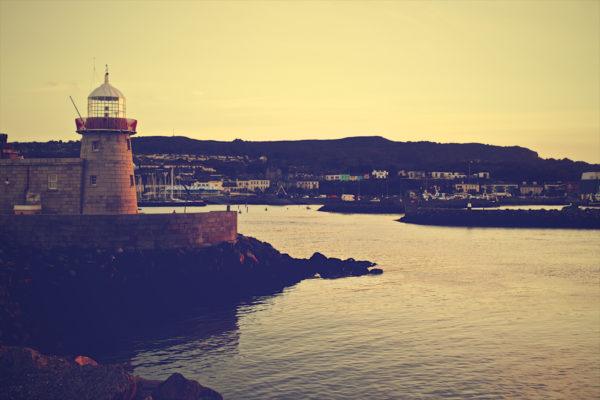 Lighthouse, coast, sea, shore, tower, architecture, city, rocks, sunset, water, vintage