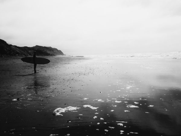 Waiting, surf, surfer, wave, sea, coast, sunset, black and white, surfboard