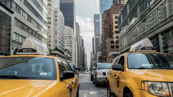 Yellow cabs and skyscrapers, taxi, cars, new york, city, street,