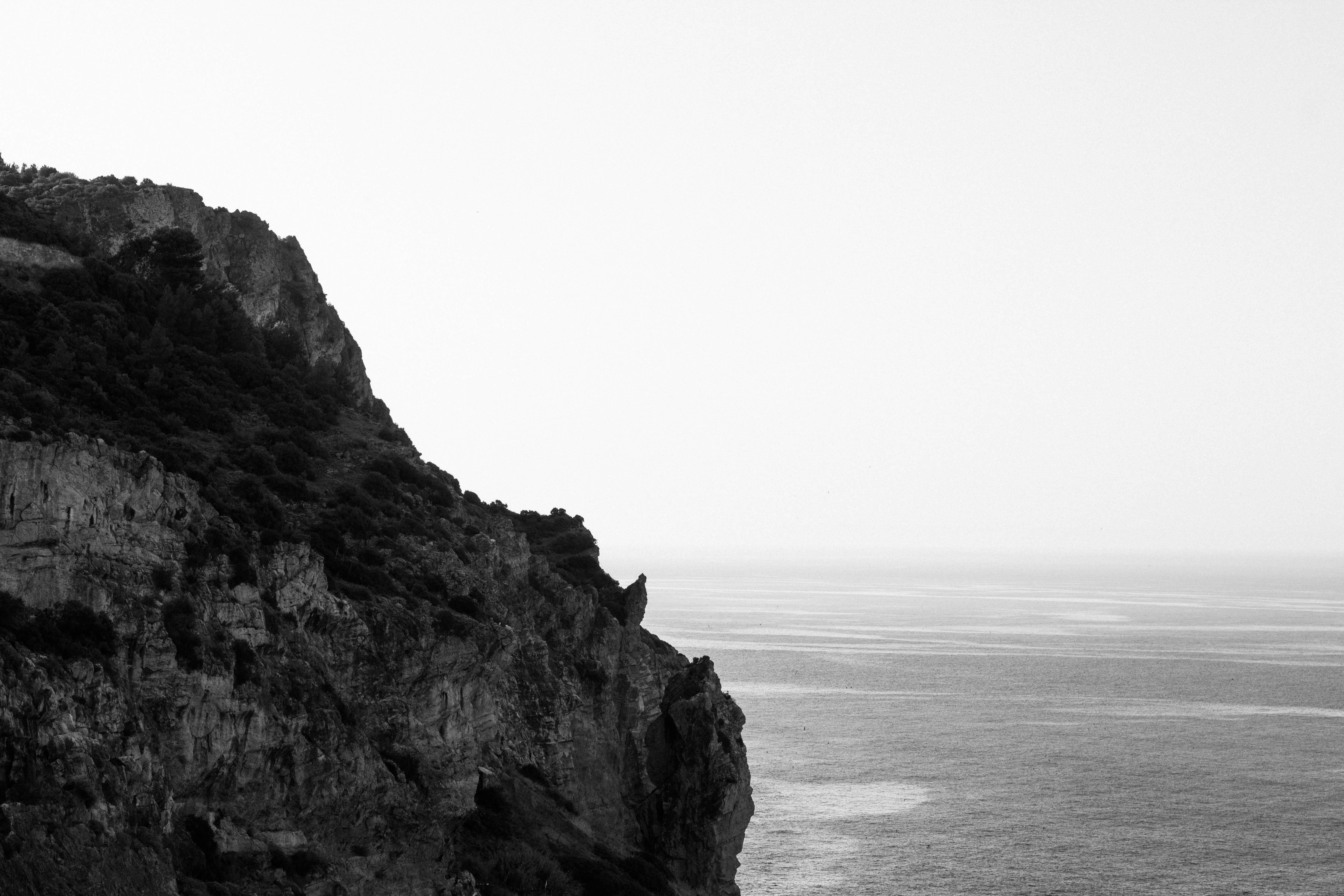 Cliff, sea, cliff, rocks, cliffs, white and black