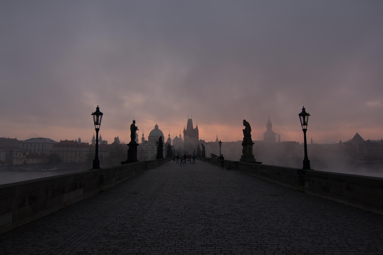 Charles Bridge, bridge, medieval, gargoyles, stones, pavers, mean age