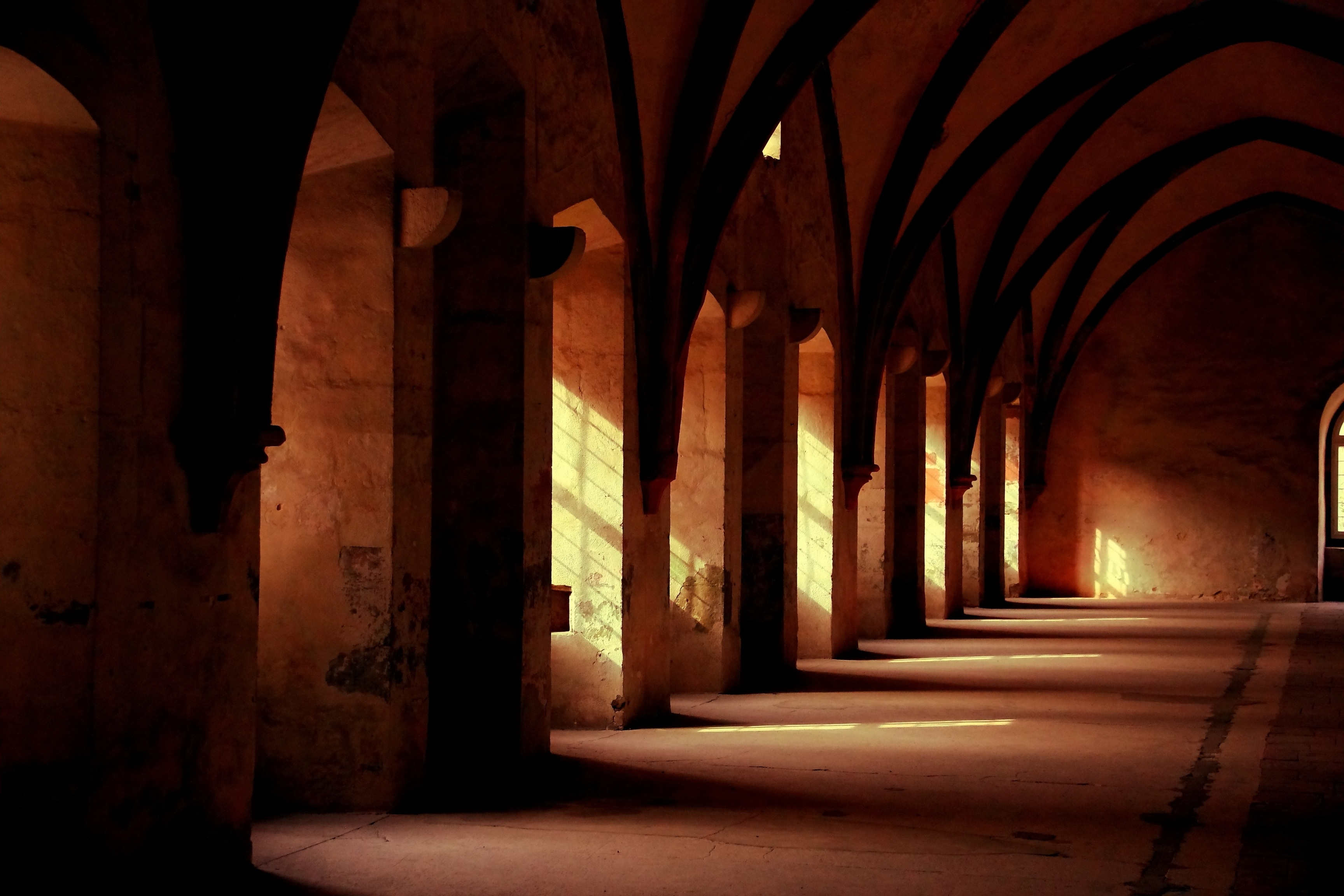 Medieval gallery, sun, light, gallery, arches, arches, arch, cathedral