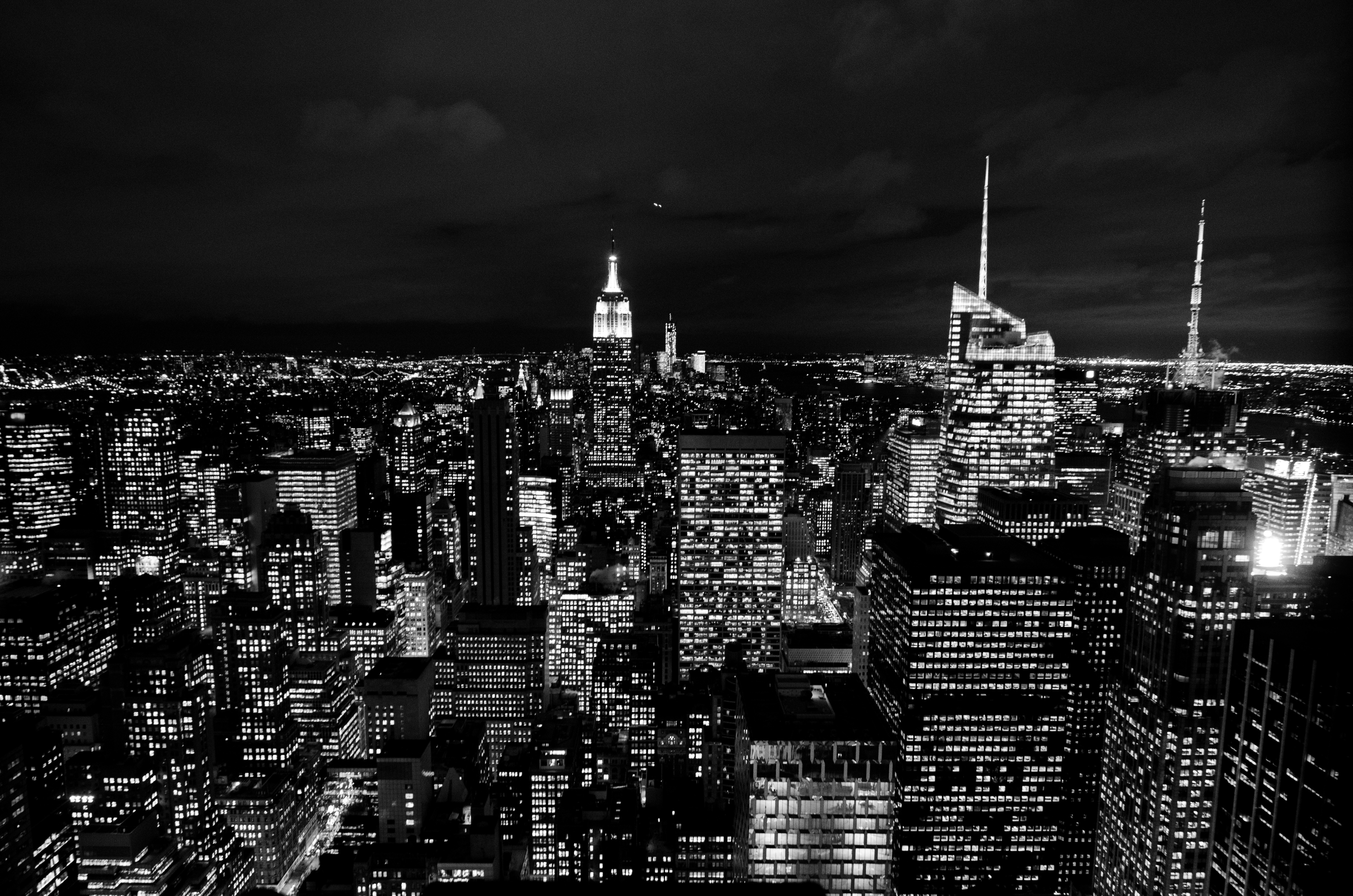 New york at night, new york, new york lights, building lights, light, night, windows, buildings, black and white, new york, lights, light, night