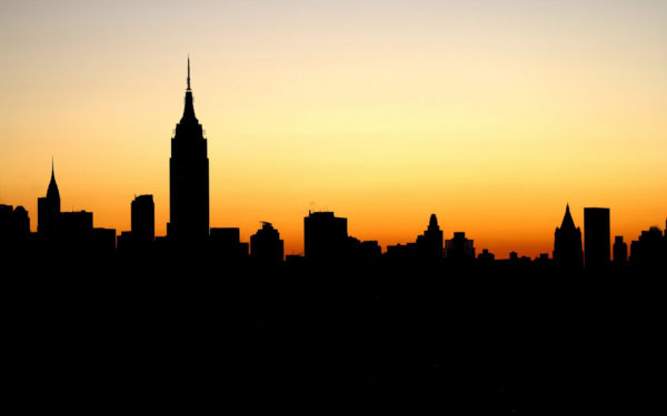 New York Dawn by felixufpe, new york, empire state, sunrise, sunset, yellow, silhouette, skyscrapers, buildings, city
