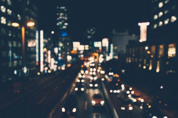 Night city, lights, cars, autos, car lights, road, street, night, city