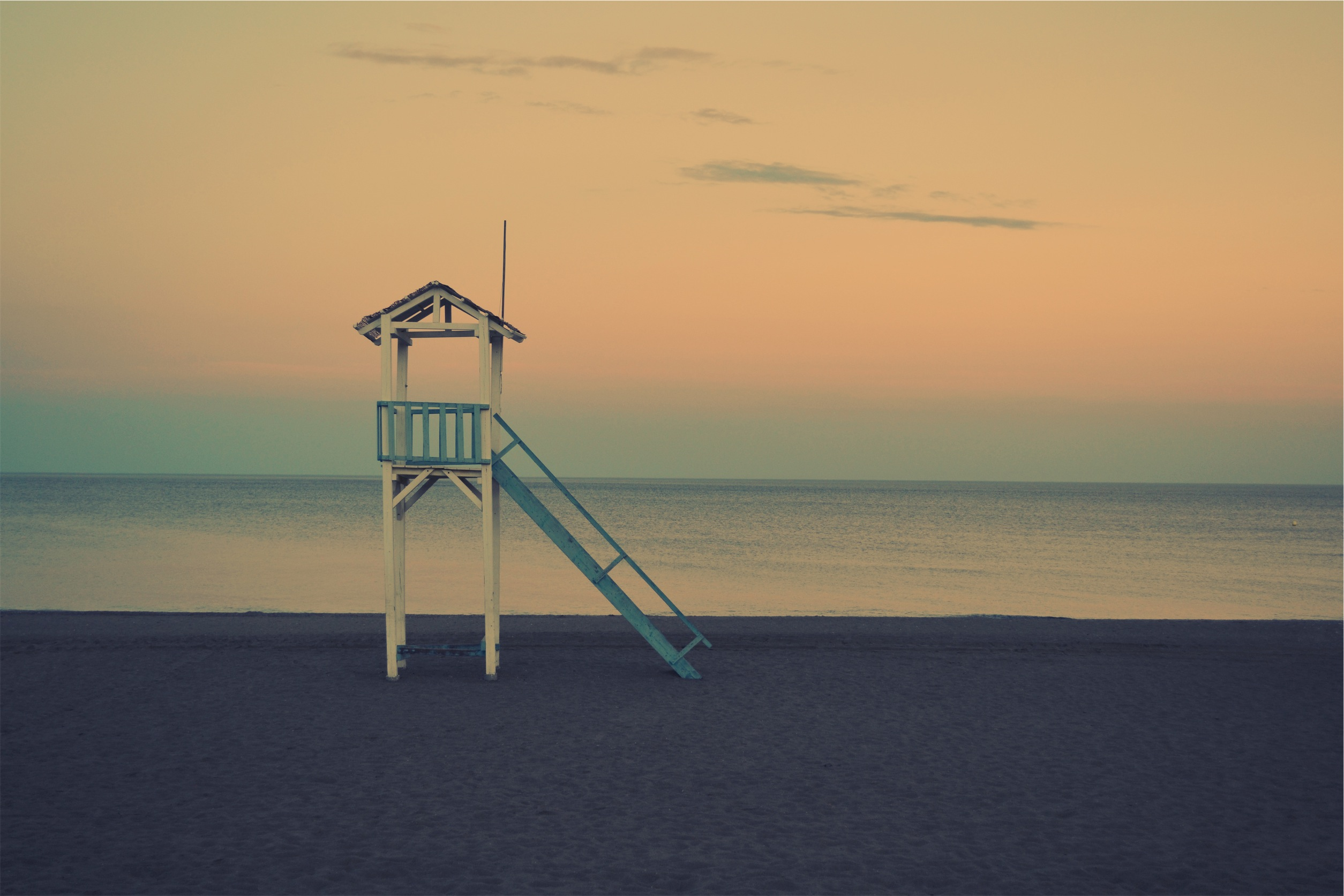 Lonely beach, lifeguards, beach, solitude, sunset, tranquility, lookout