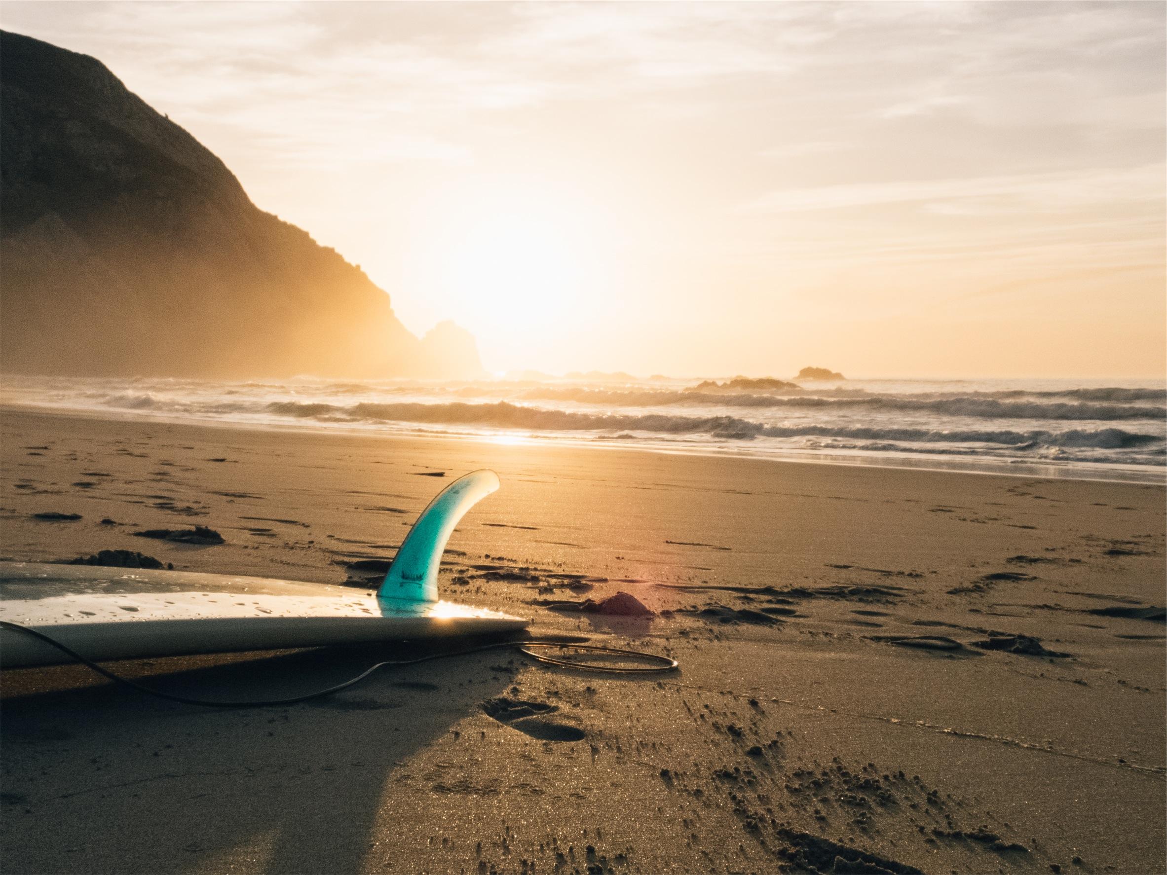 Surfboard on the beach, beach, surf, surfers, waves, beach, sunset, sand, sun