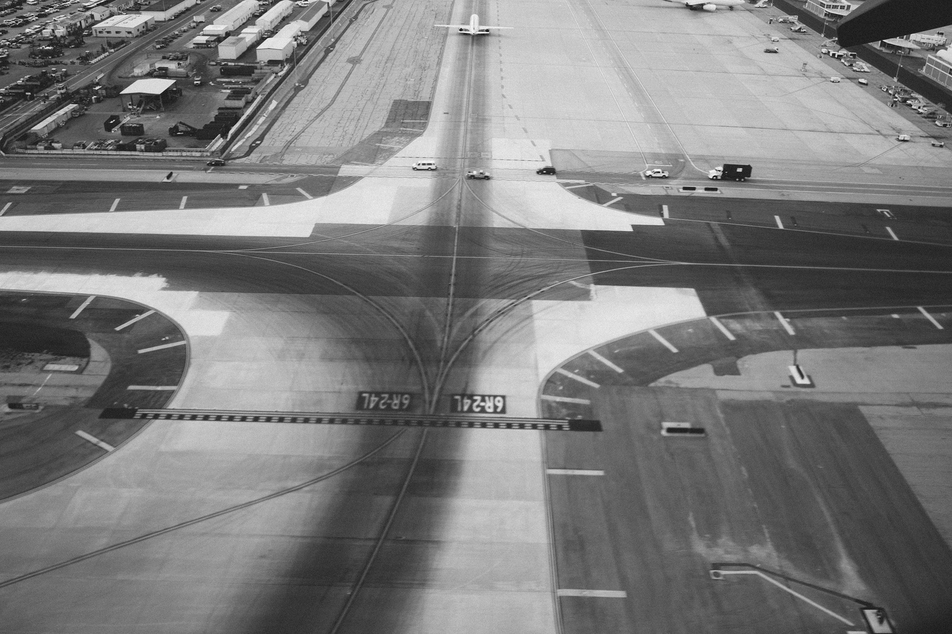 Airport runway, airport, runway, tarmac, airplanes, transportation, travel, black and white