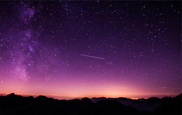 Amazing night sky, purple, sky, dusk, shooting star, stars, silhouette, galaxy, mountains, shooting star, comet, meteor