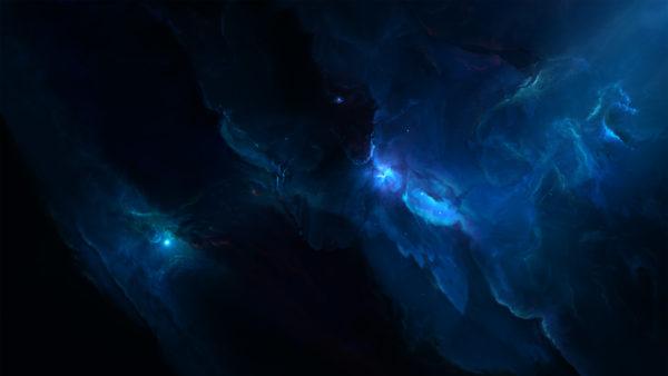 Atlantis Labyrinth Nebula By Starkiteckt, nebula, stars, infinity, blue, blue nebula