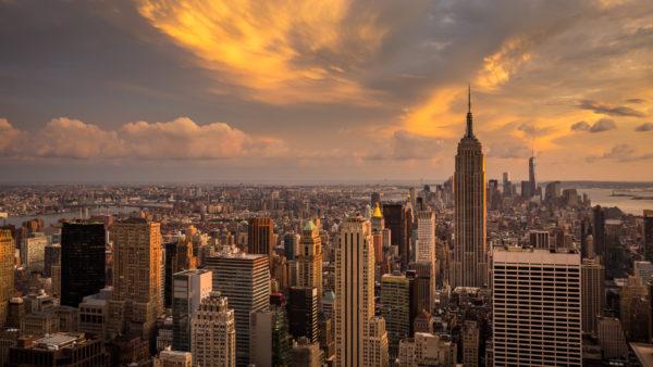 Manhattan Sunset By Vaclav Vrsinsky, buildings, skyscrapers, new york city, sunset, city, new york, empire state