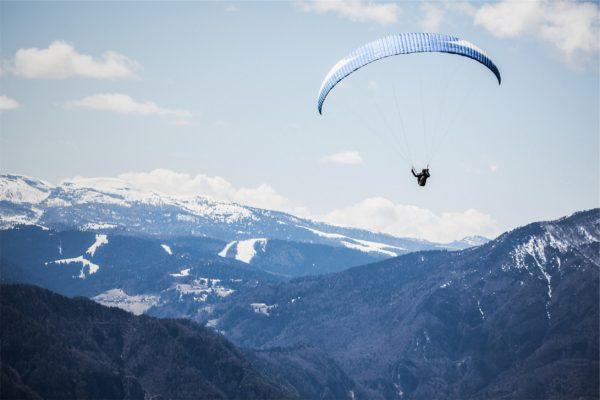 Paragliding mountains, landscape, mountains, paragliding, parachute, snow, sky, valleys, sports