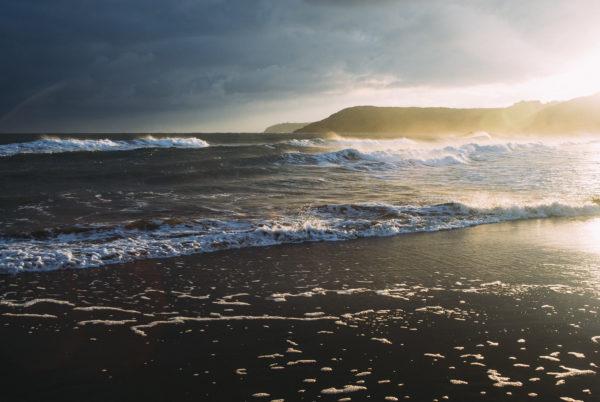 Beach, wind, waves, cold, sunset, beach, ocean, sea, waves, water, shore