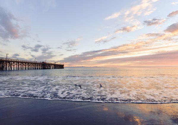 Beach Pier, pier, beach, sunset, pier, ocean, sea, water, shore, sand, sky