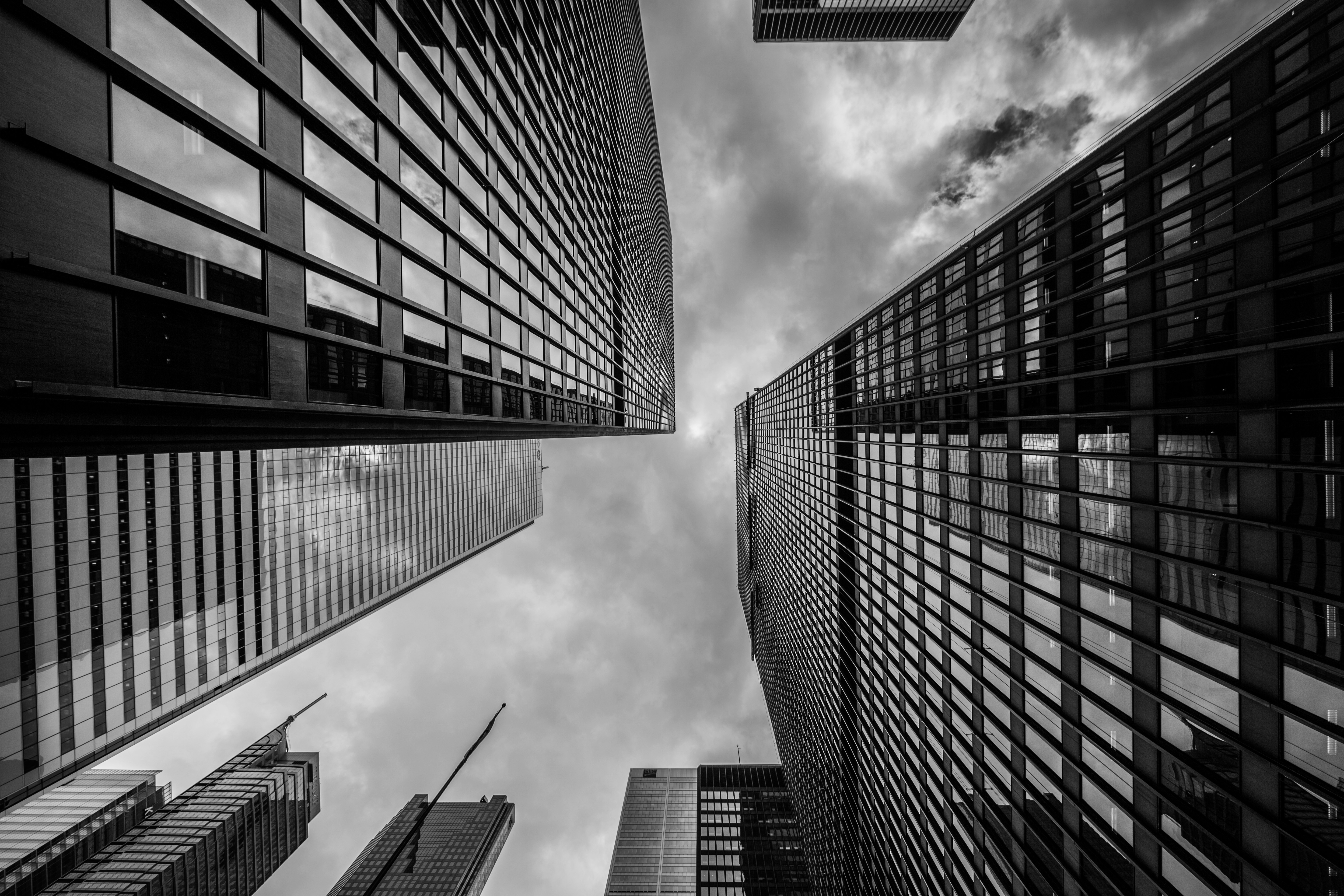 Buildings, towers, high rises, architecture, city, dark, storm, clouds, cloudy, black and whiteBuildings, towers, high rises, architecture, city, dark, storm, clouds, cloudy, black and white