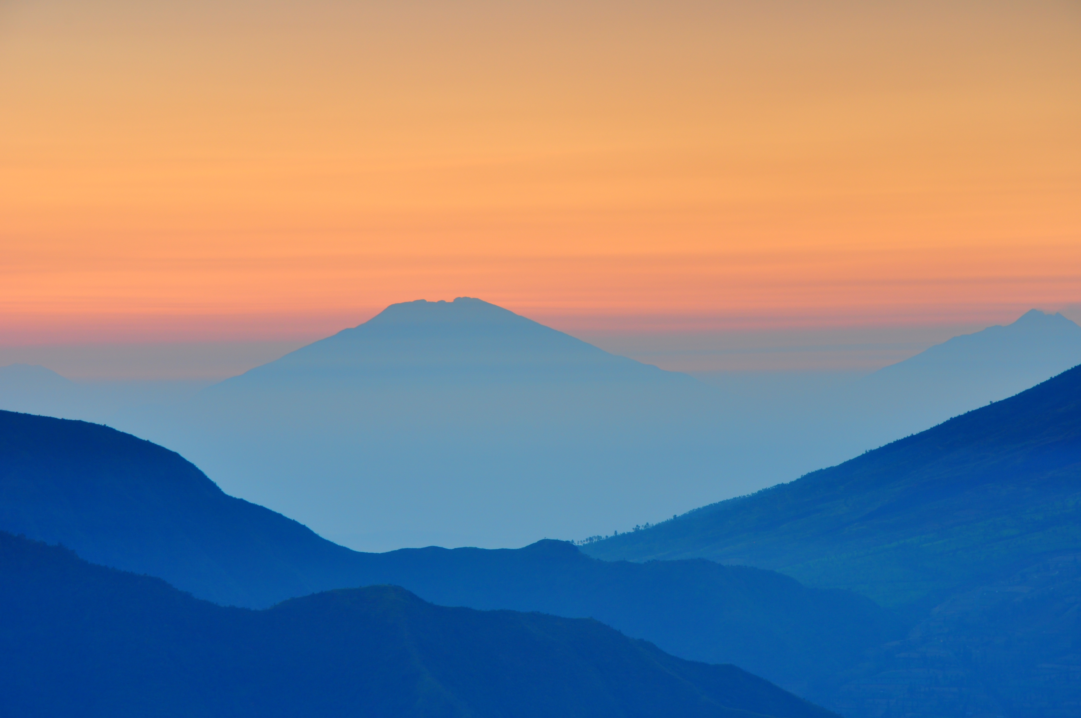 Mountains at sunrise, morning, blue, sun, mountains, valleys, hills, blue, orange, sunset, nature, oudoors