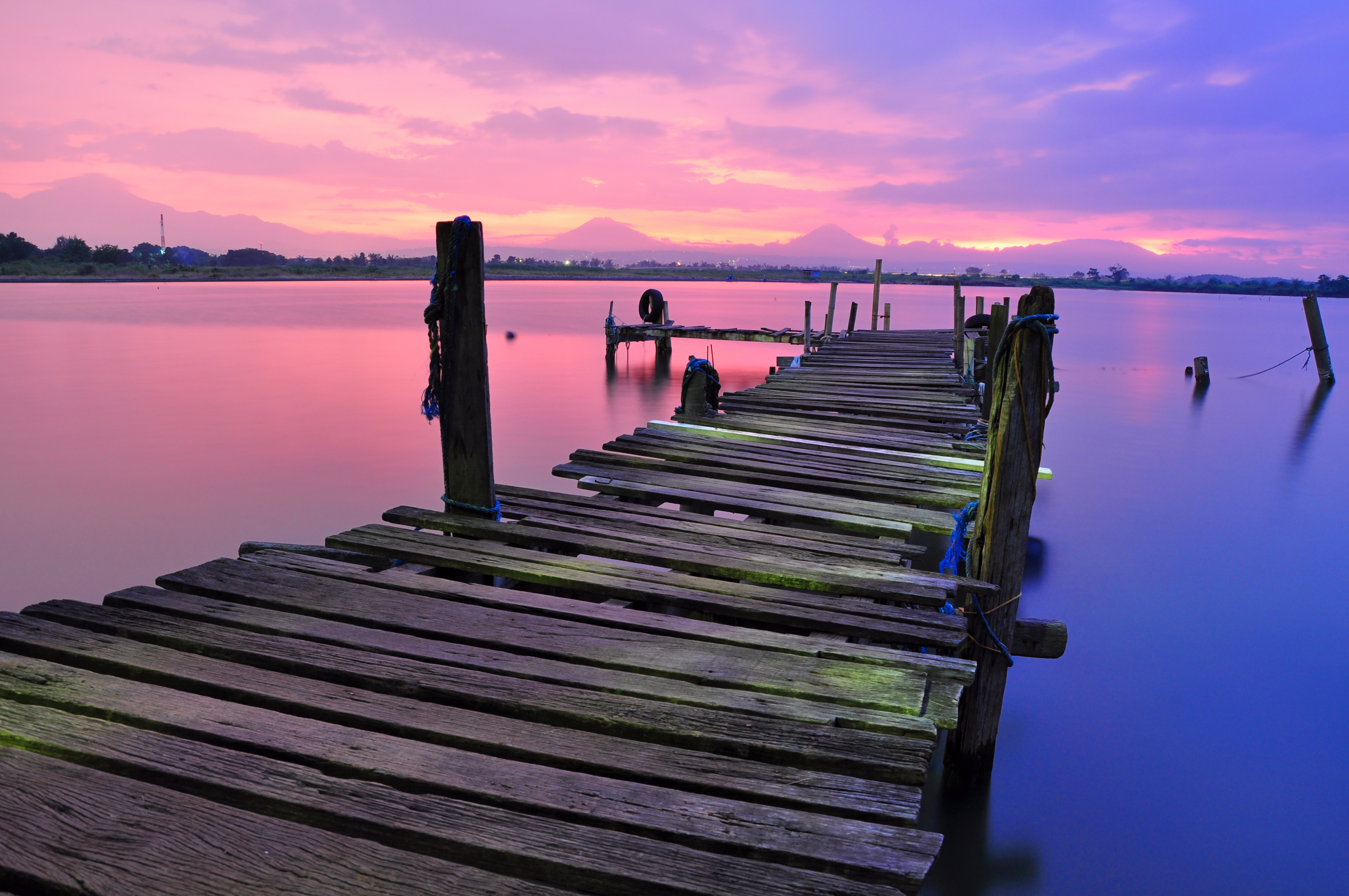 Spring, tranquility, peace, dock, pier, lake, water, purple, pink, sunset, dusk
