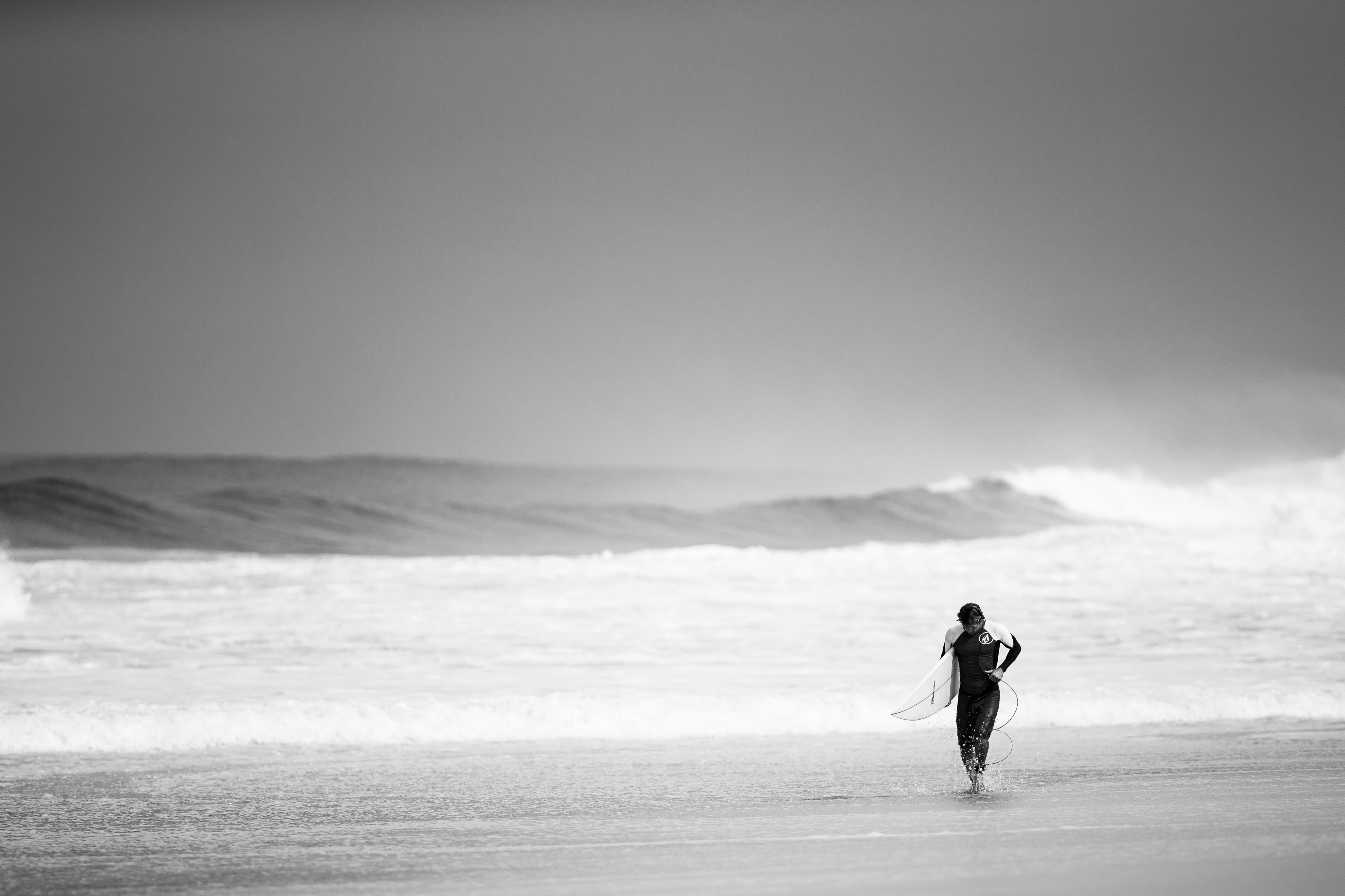 Surfer on the beach, surfing, beach, ocean, waves, water, guy, man, people, black and white