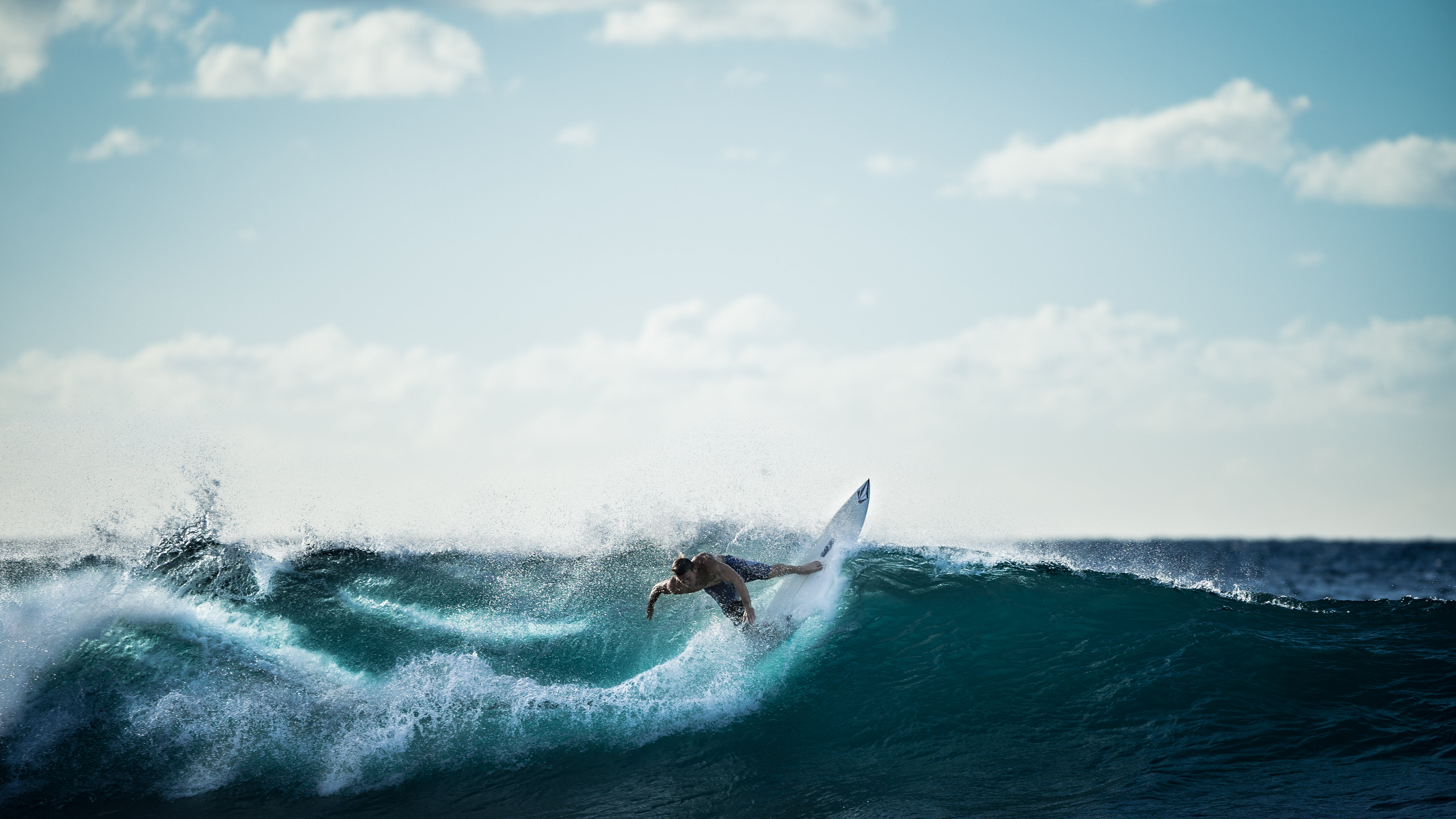 Surfing, waves, water, surfer, wave, ocean, sea, water, sports, fitness, sky, clouds