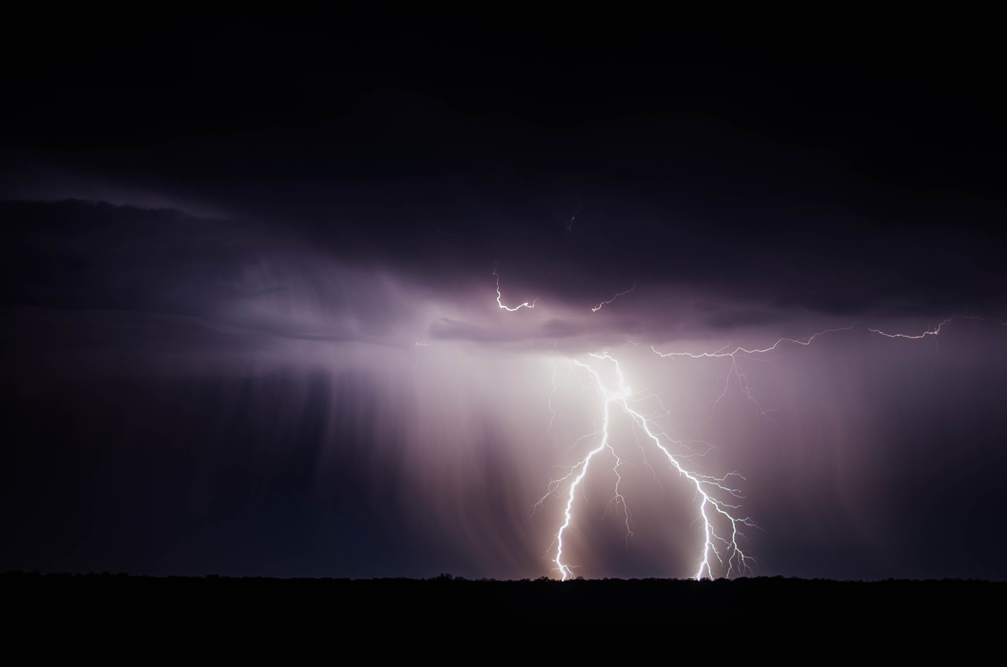 Thunderstorm, rain, lightning, storm, weather, night, sky, clouds, dark, rays, light, Electricity, clouds, thunder