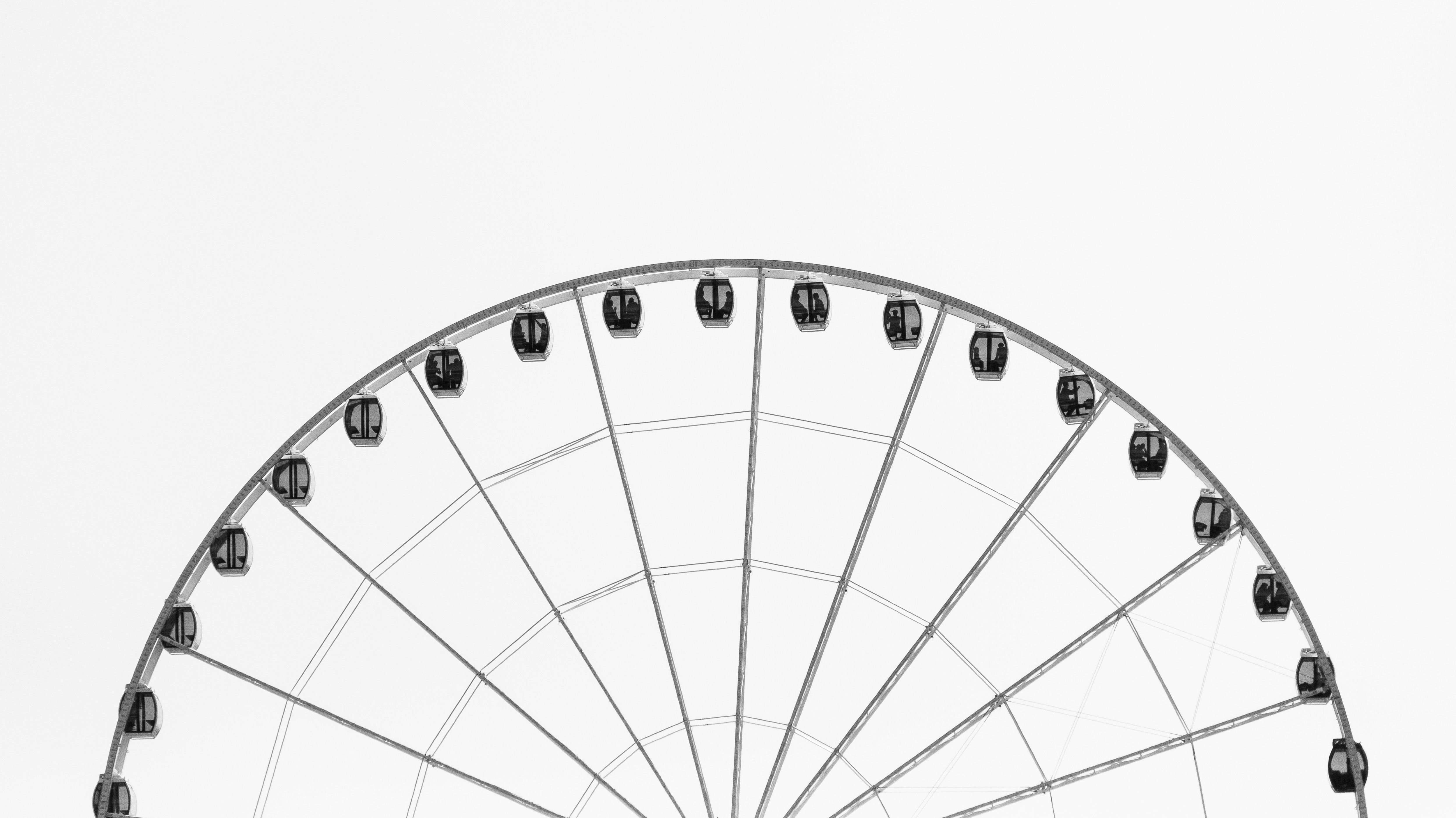 Wheel of Fortune, white and black, gondola, ferris wheel, sky, fun, entertainment, ride, amusement park
