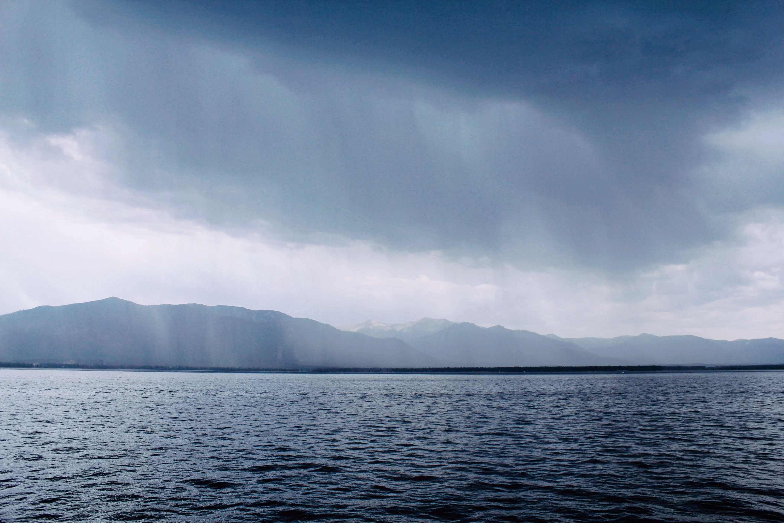 Rain on the lake, mountains, lakes, rain, water, cold, clouds