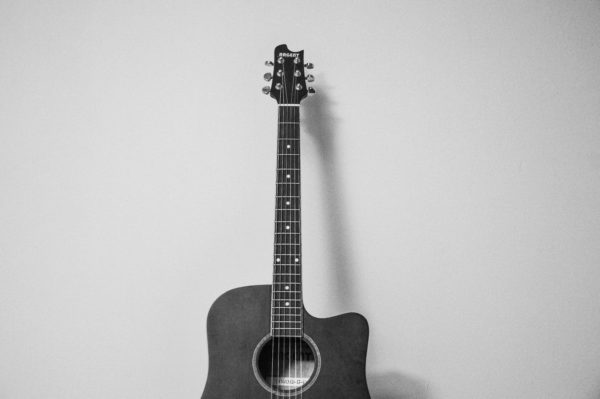 Black and white guitar, music, acoustic guitar, guitar, music, instrument, black and white