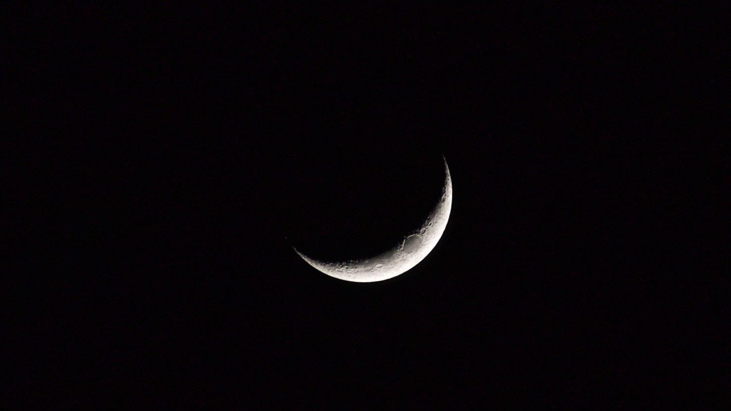 Crescent moon, night, evening, monday, dark, sun, moon, star, texture, astrophotography, march