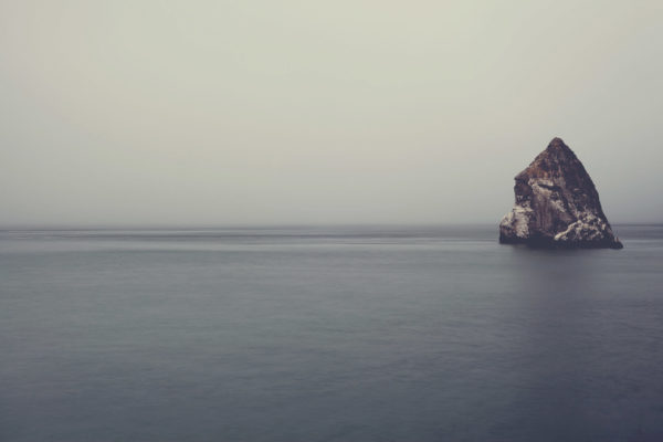 Rock in the middle of the ocean, cliff, rock, rock, island, ocean, sea, water, rock, sky, landscape, nature