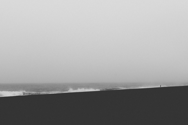 Black deserted beach, tranquility, white, water, beach, sea, ocean, gray day