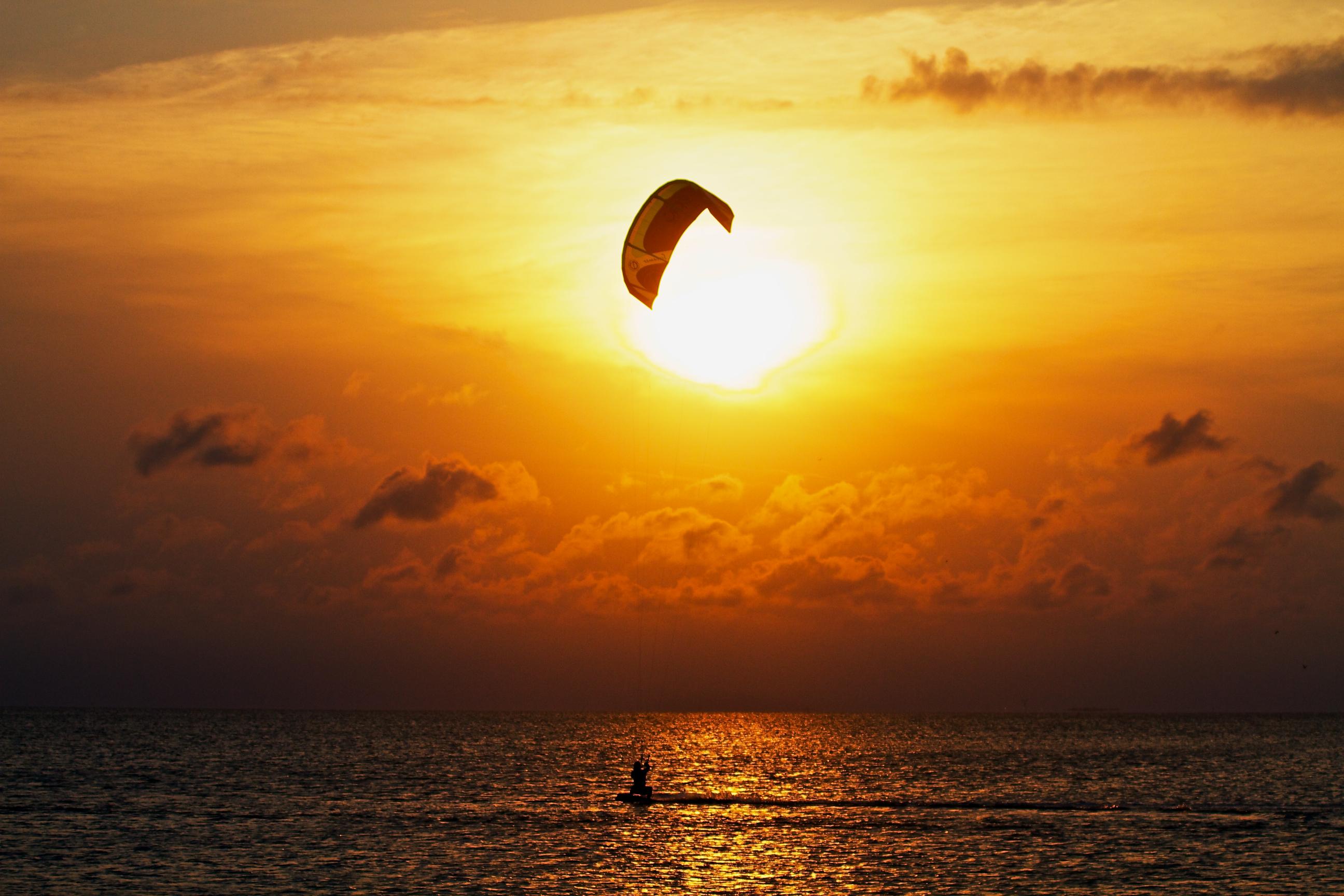kitesurfing, sky surfing, sunset, beach, sea, ocean, water, sport, extreme, sailing, sun
