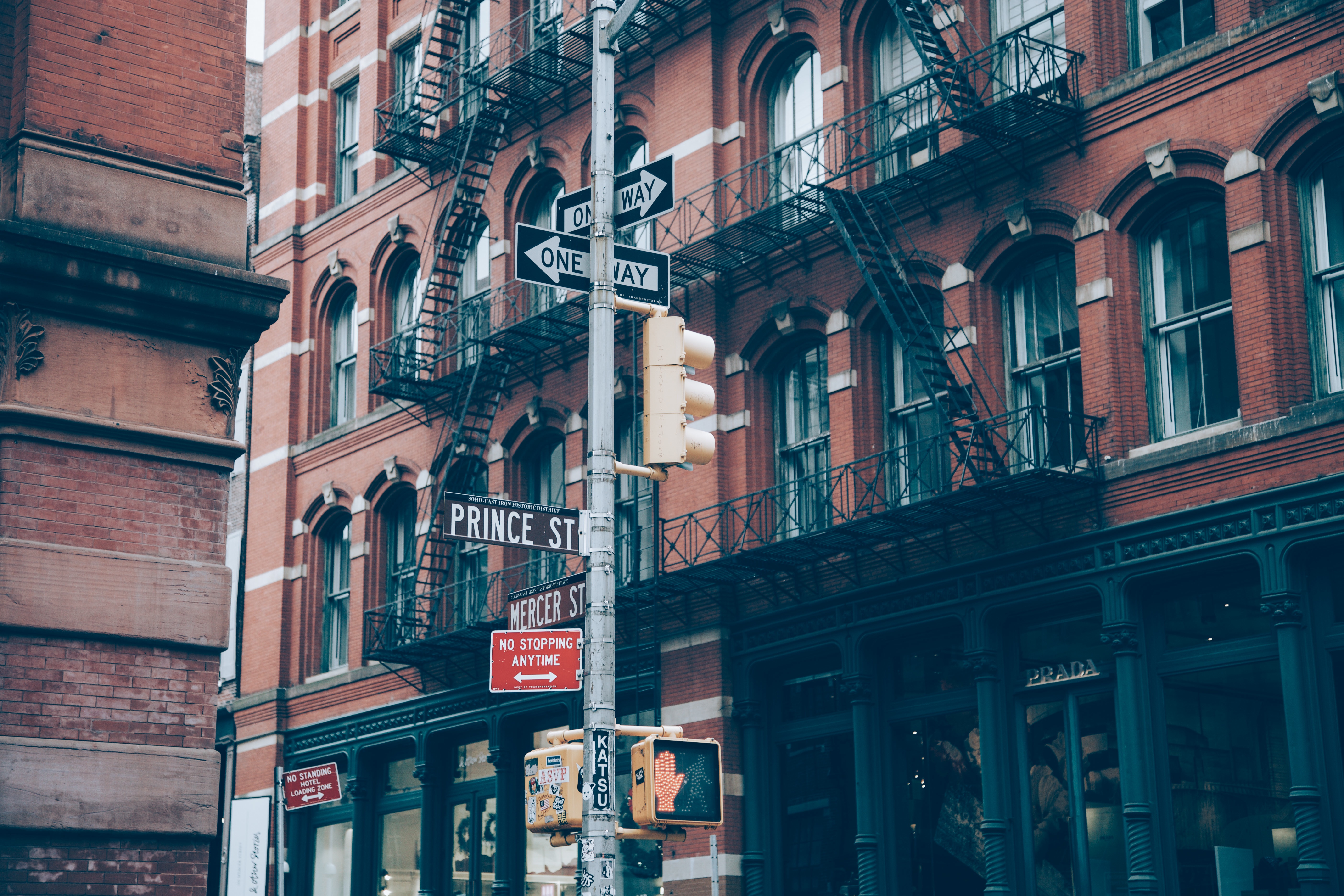 Meeting Street, corner, new york, street, signs, one way, intersection, crosswalk, city, urban, buildings, apartments, bricks