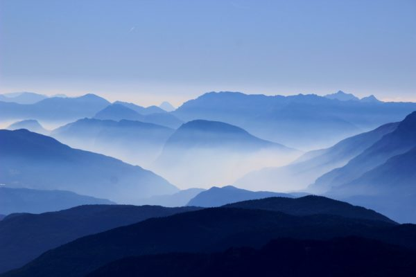Mountains at dawn, morning, dawn, mountains, forests, trees, shadows