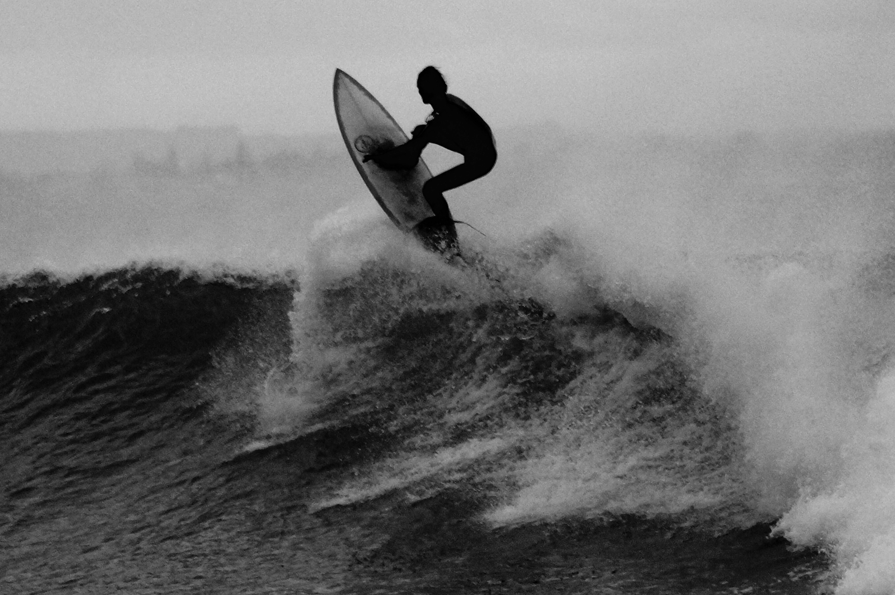 Surfer black and white, surfer, surfing, wave, surf, ocean, water, surfboard, sport, sea, beach, black and white, surf board, Free Photos, Free Images