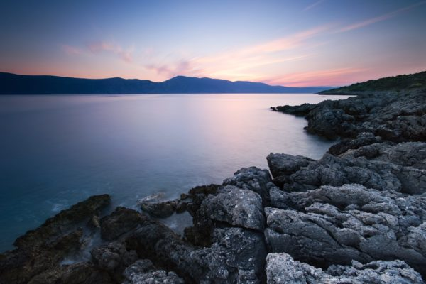 Calm in the lake, rocks, mountains, lake, water, calm, sunrise, sunset