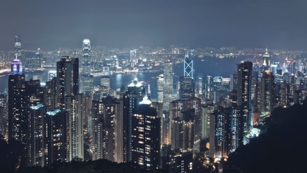 Hong Kong Victoria Harbour City, scape, metropolitan, skyscrapers, skyline, night, illumination, downtown, urban, architecture, buildings, modern, view, center, panoramic