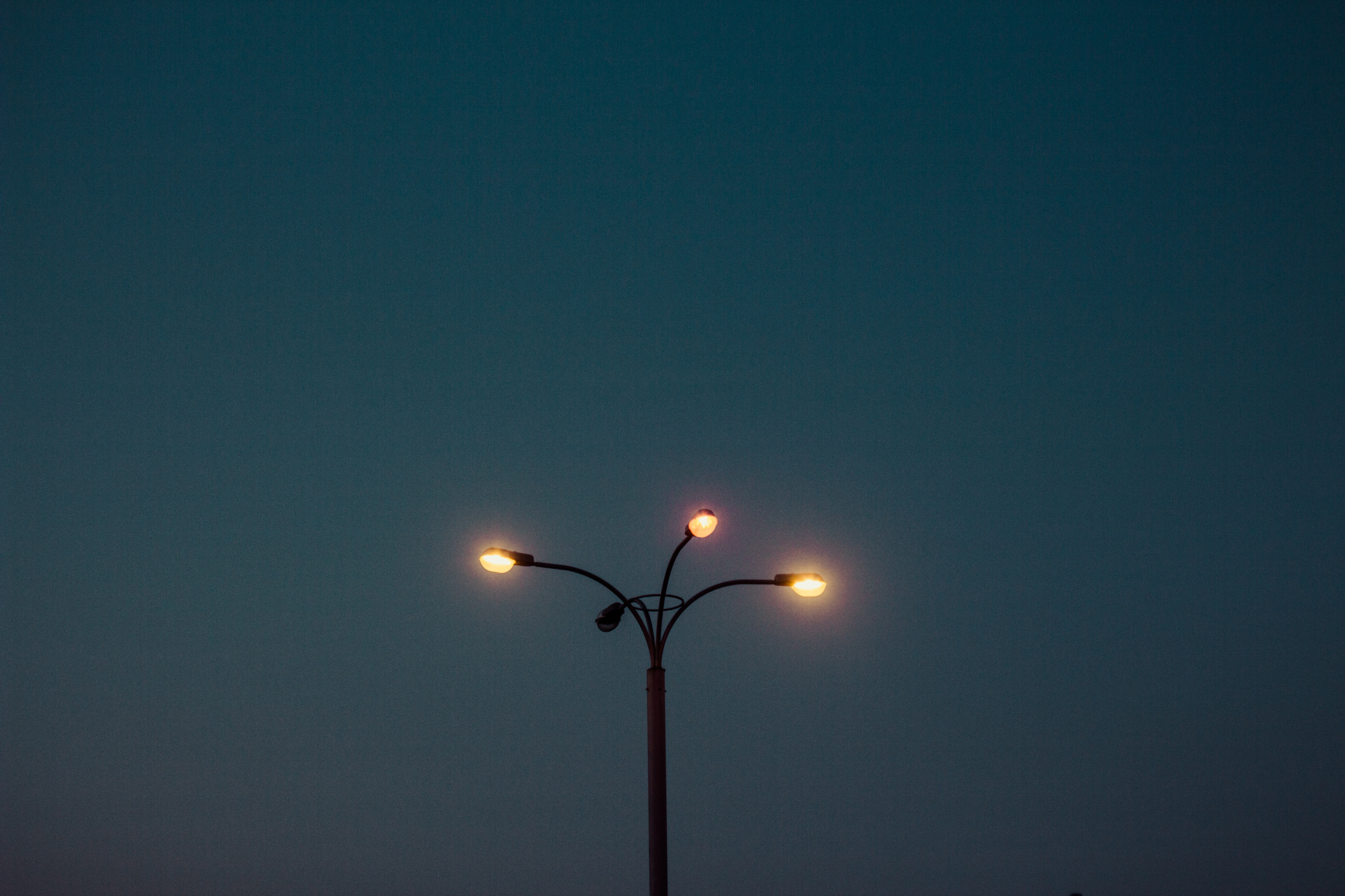 Lamps at night, loneliness, lamp post, lights, night, dark, evening, sky