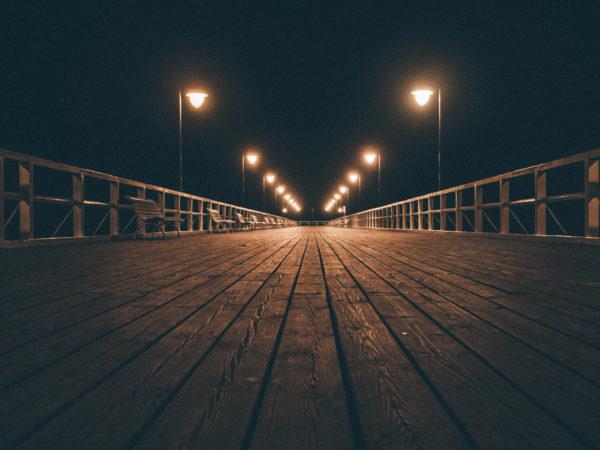 Spring night, wood, spring, light, lights, night, dark, darkness, peace, tranquility, wooden pier