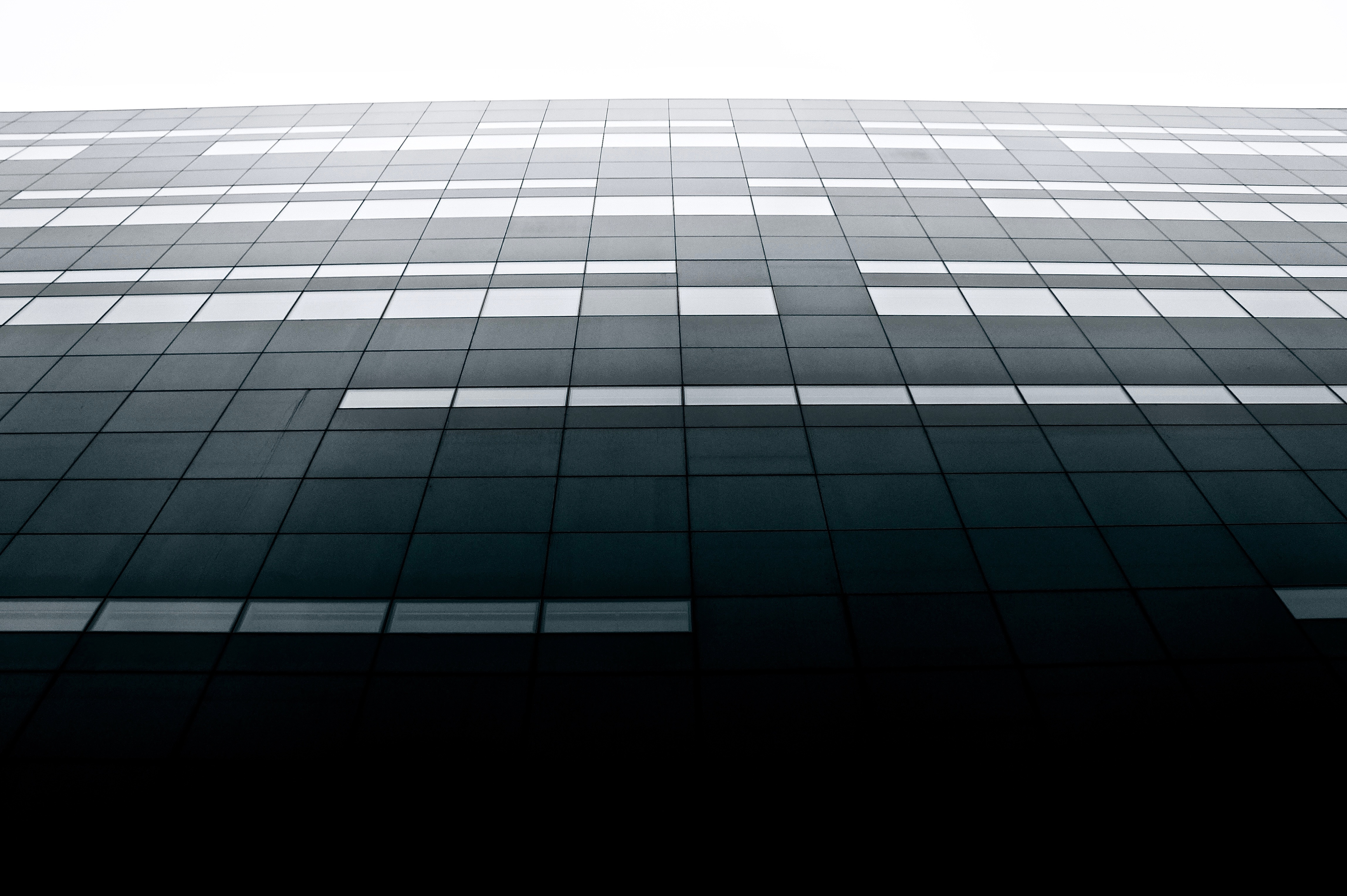 Glass facade, photography, architecture, black and white, glasses, reflection