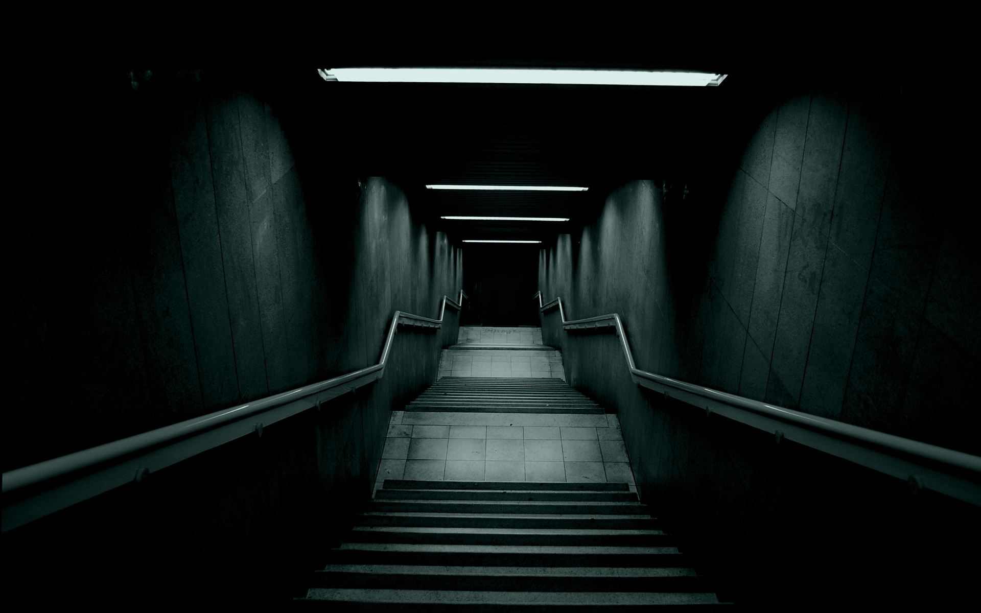 Stare Into the Abyss by LNePrZ, stairs, terror, chills, deep, dark, light, faint, fear, dark, white and black