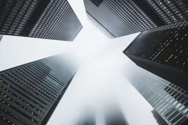 Skyscrapers, buildings, clouds, above the clouds, mist, fog, skyscrapers, buildings Grice, white and black