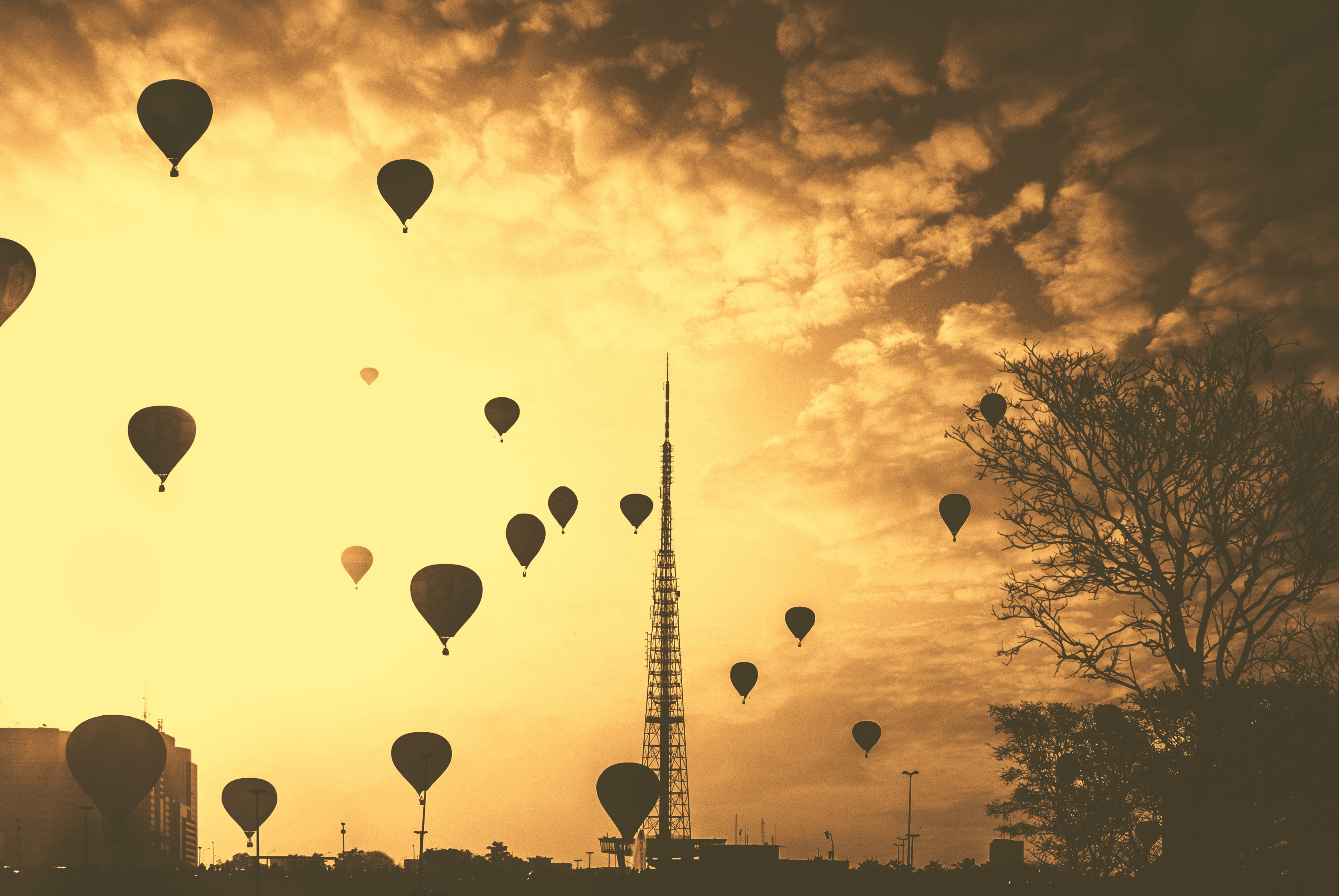 Floating at sunset, balloon, balloons, flight, floating, floating, flying