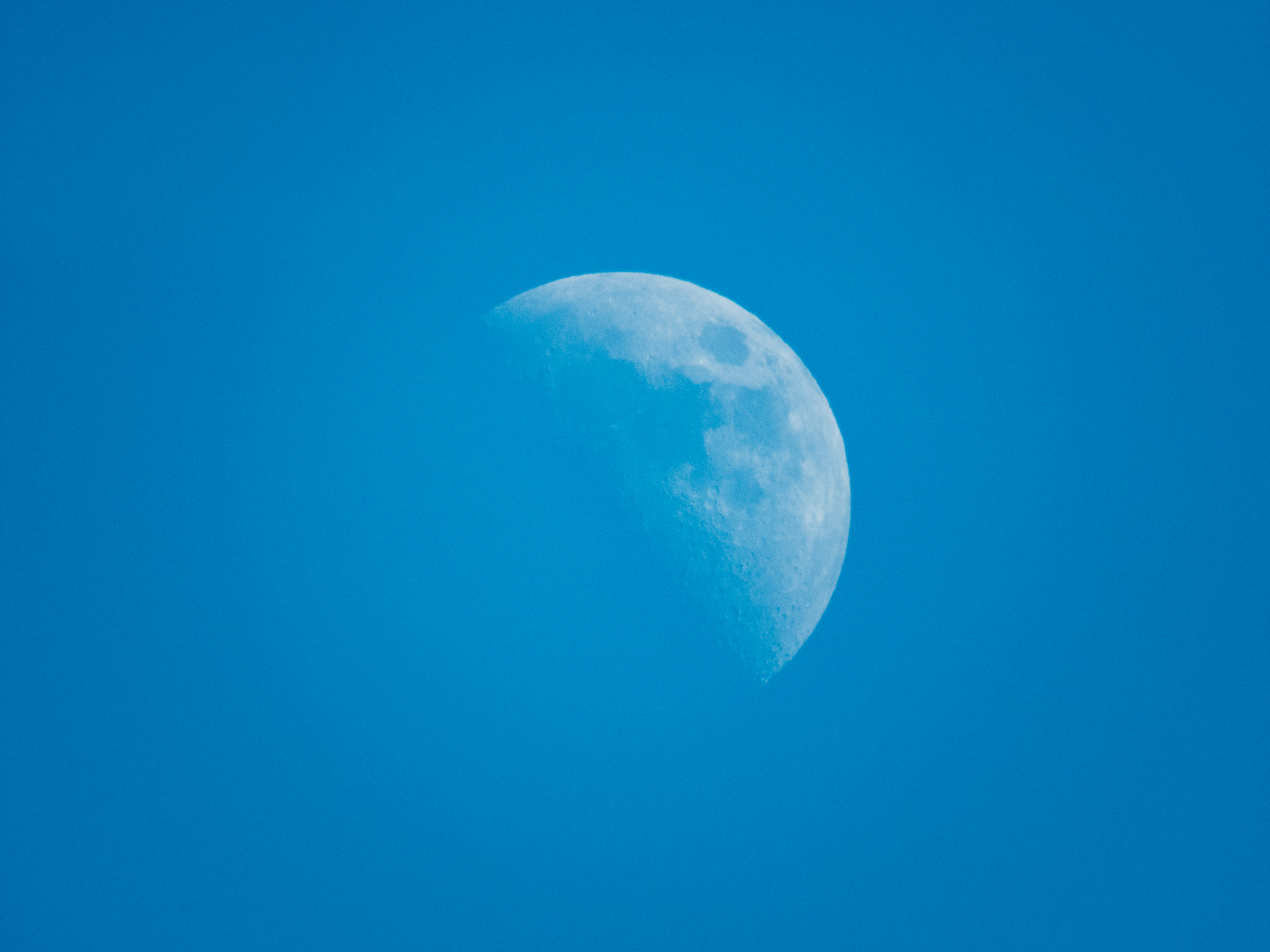 Moon in the blue sky, moon, sky, blue, light blue, clear, visible moon